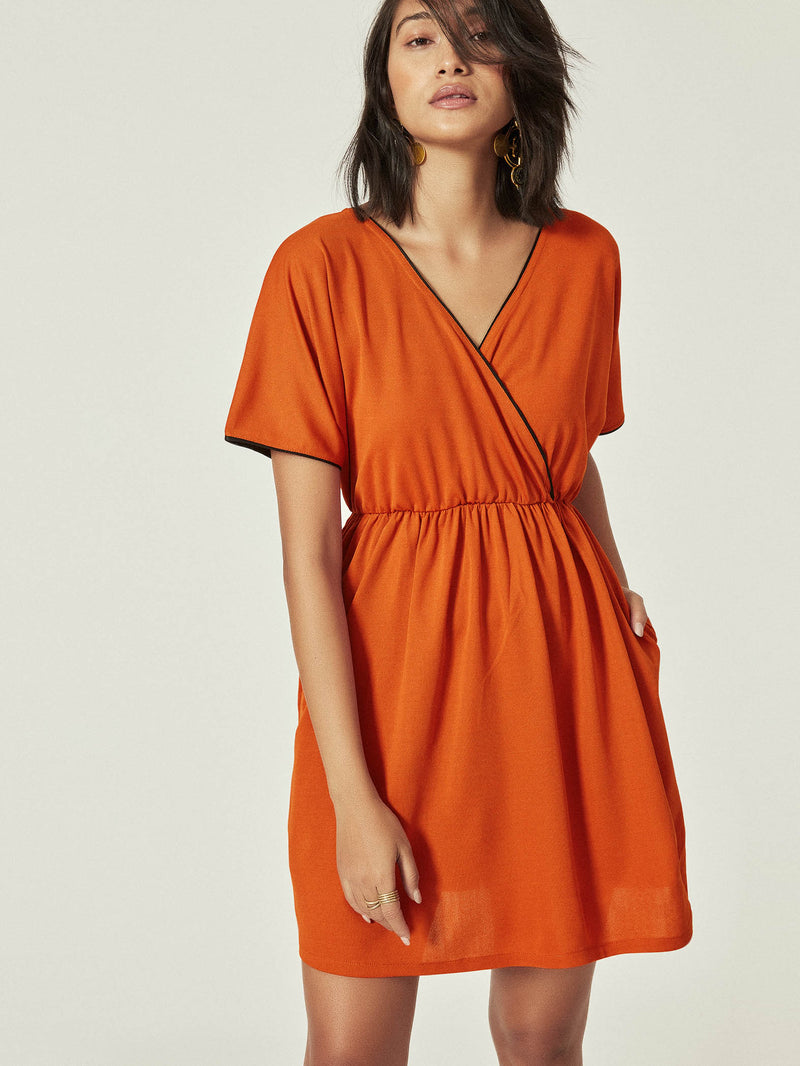 Rust Textured Overlap Dress