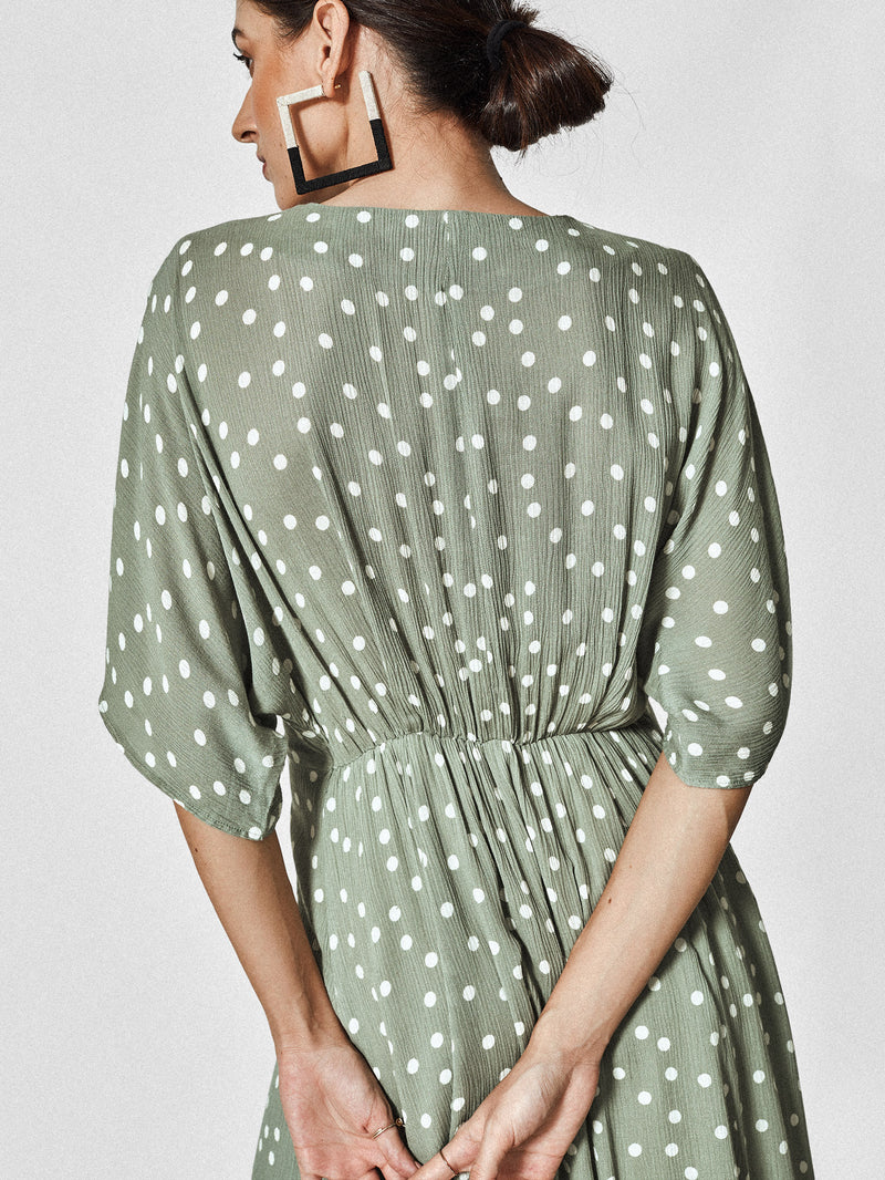 Sage Polka Front Tie Dress
