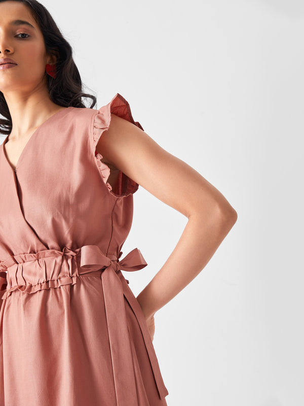 Salmon Overlap Ruffle Dress