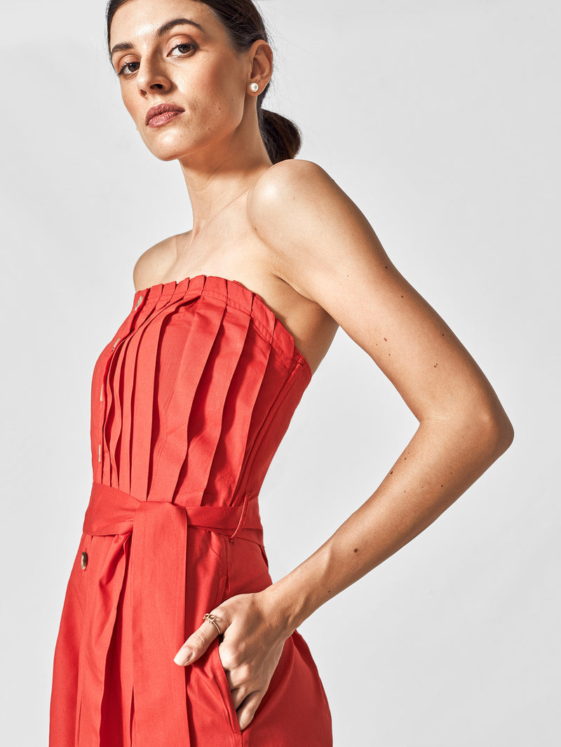 Scarlet Pleated Tube Jumpsuit