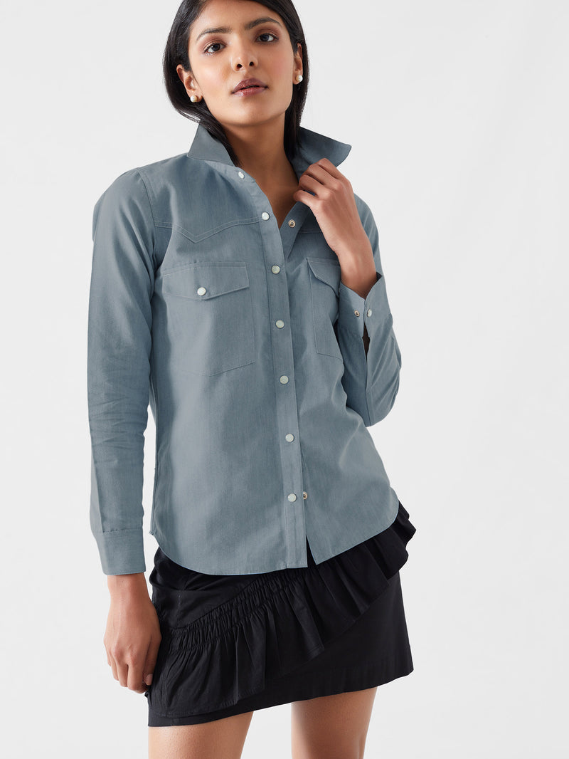 Soft Denim Button Down Shirt