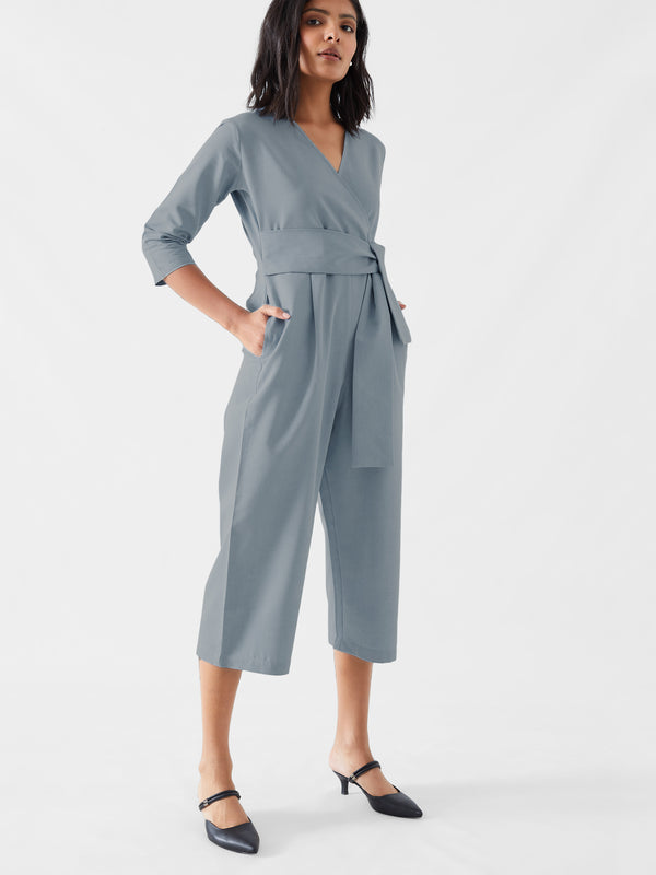 Soft Denim Overlap Jumpsuit