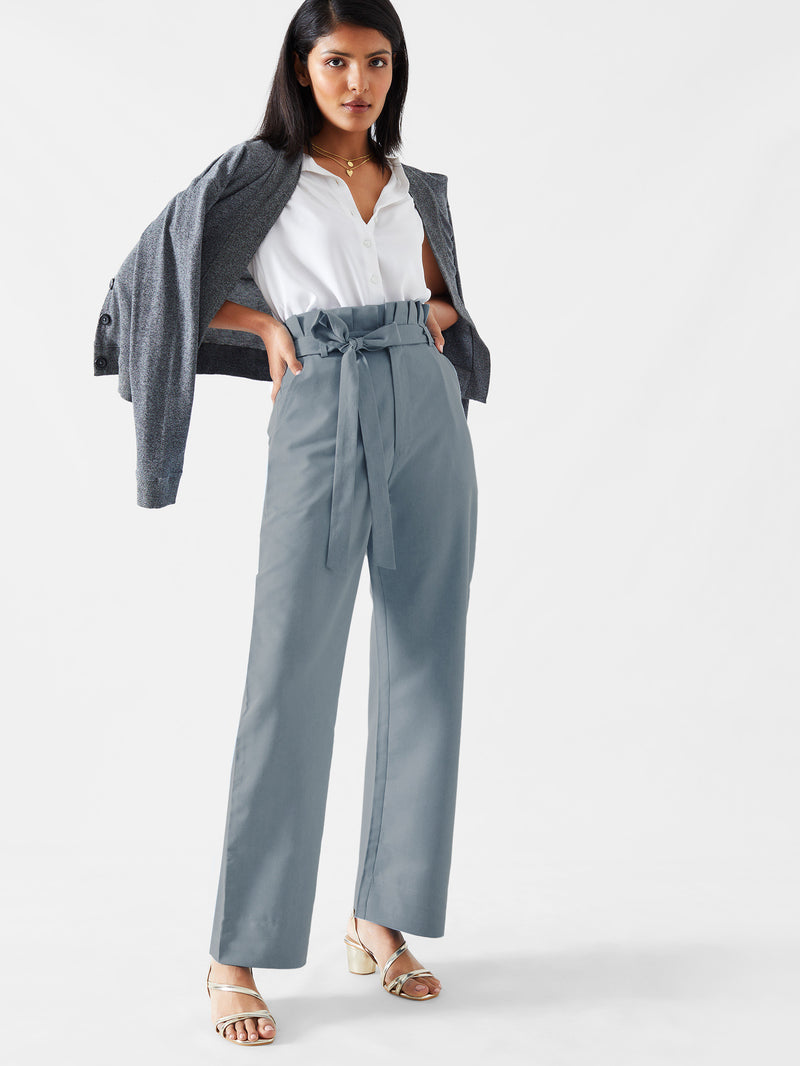 Soft Denim Paper Bag Waist Pants