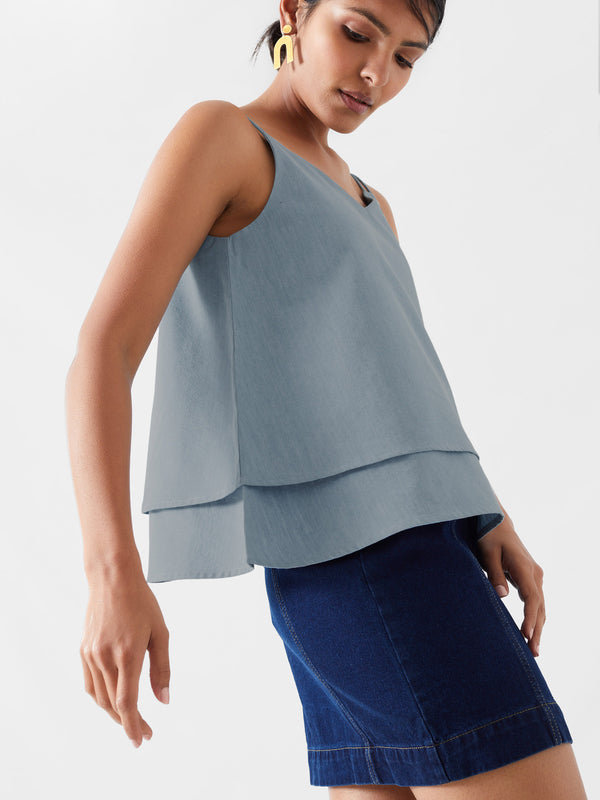 Soft Denim Sleeveless Tiered Top