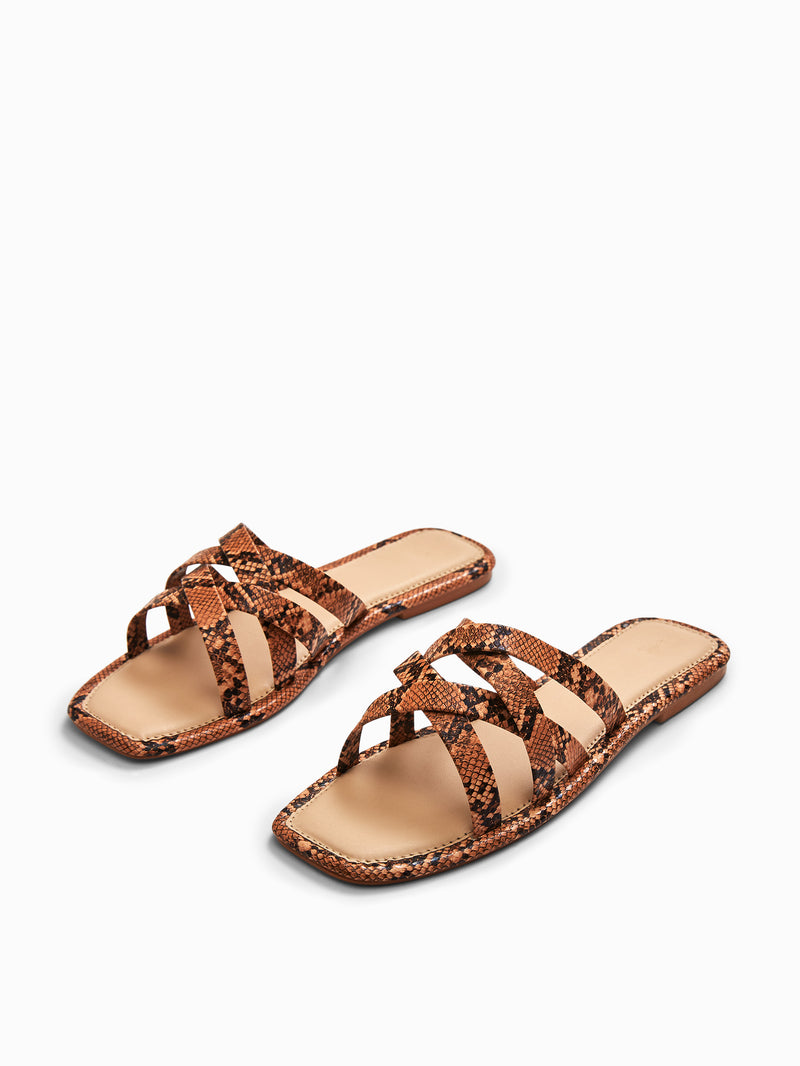 Tan Textured Strap Sliders