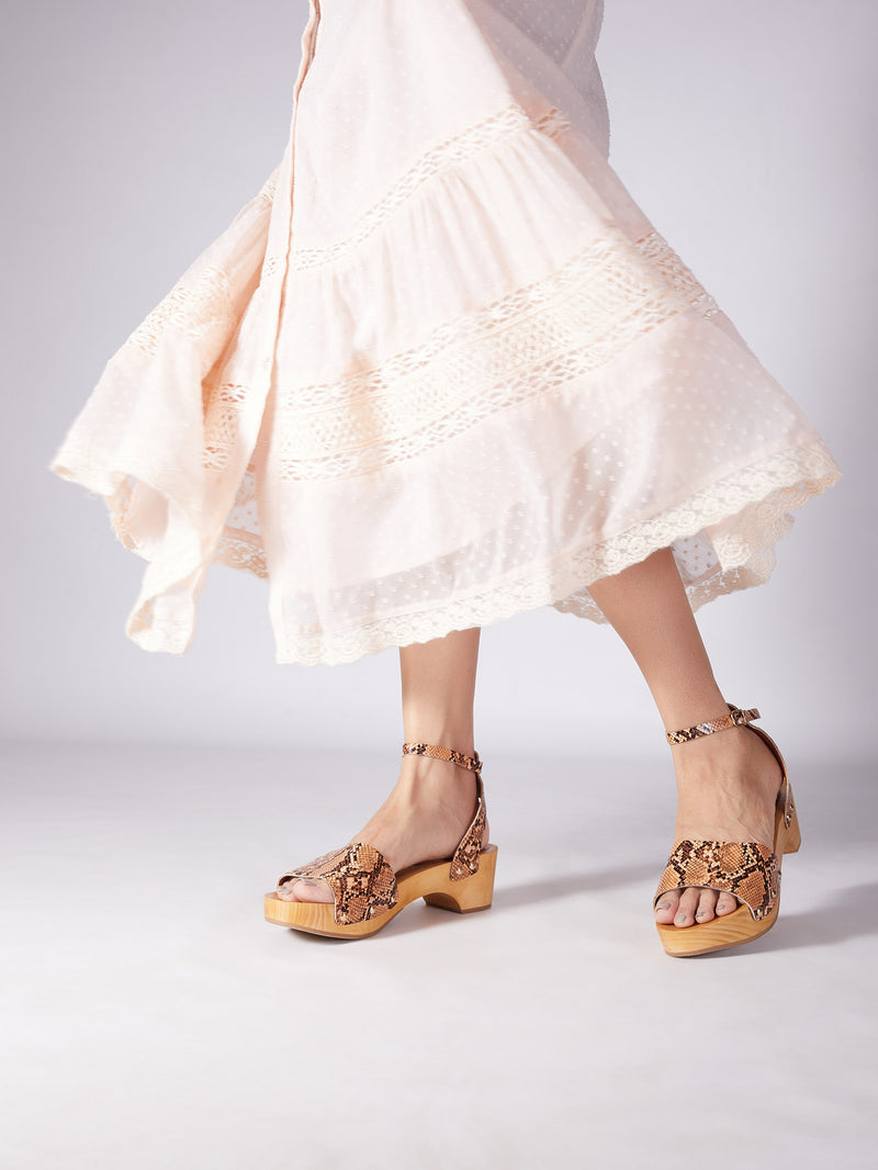 Tan Textured Wooden Block Heels