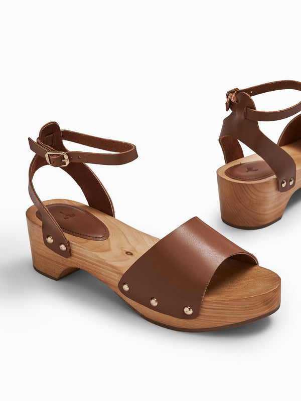 Tan Wooden Block Heels