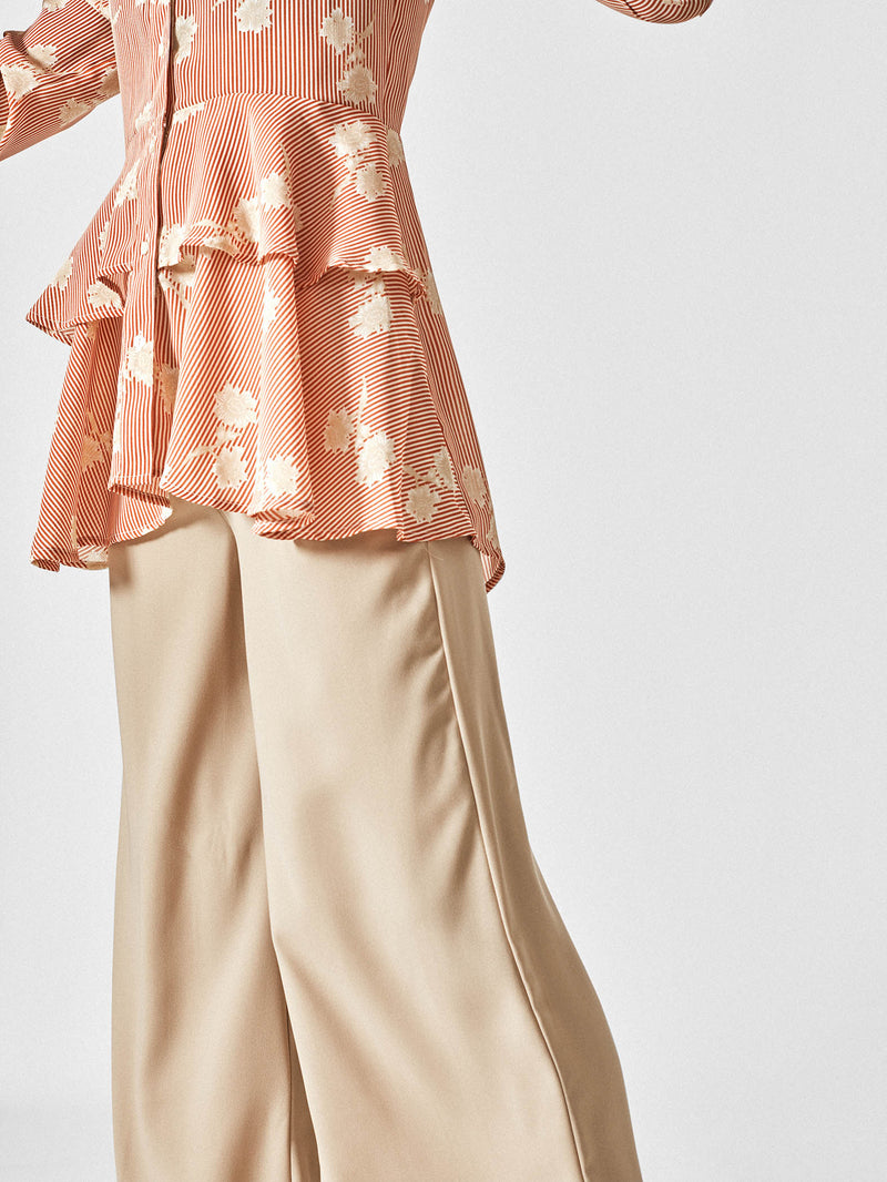 Tangerine Floral Tiered Shirt