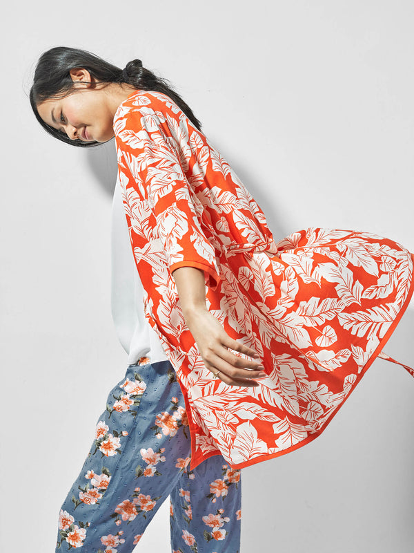 Tangerine Printed Sleep Robe