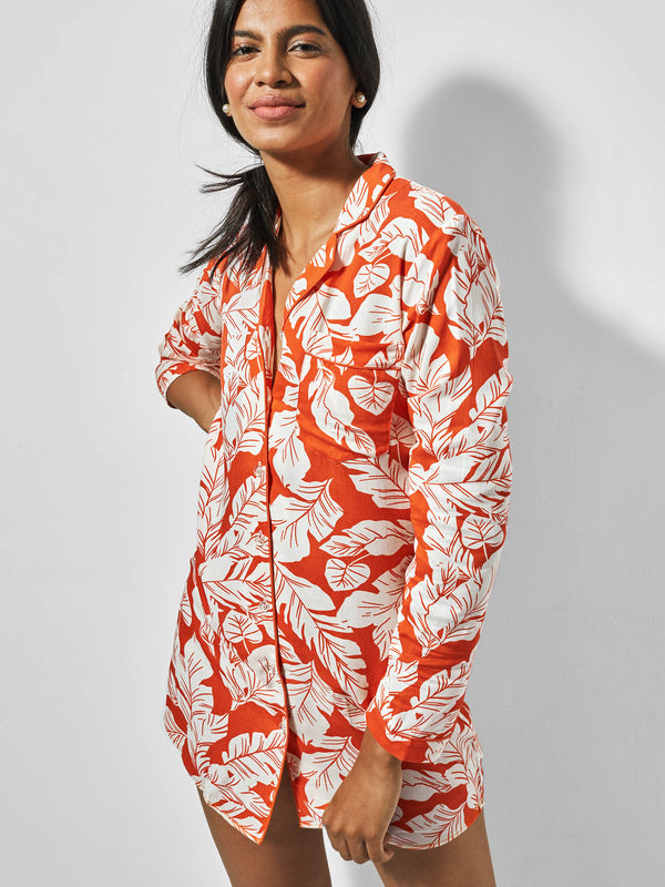 Tangerine Printed Sleep Shirt Dress