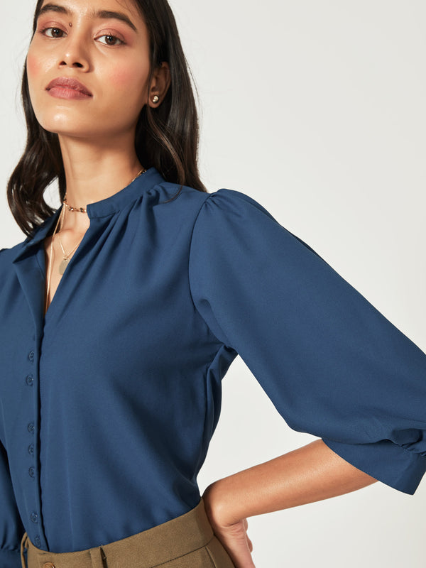 Teal Mandarin Collar Shirt