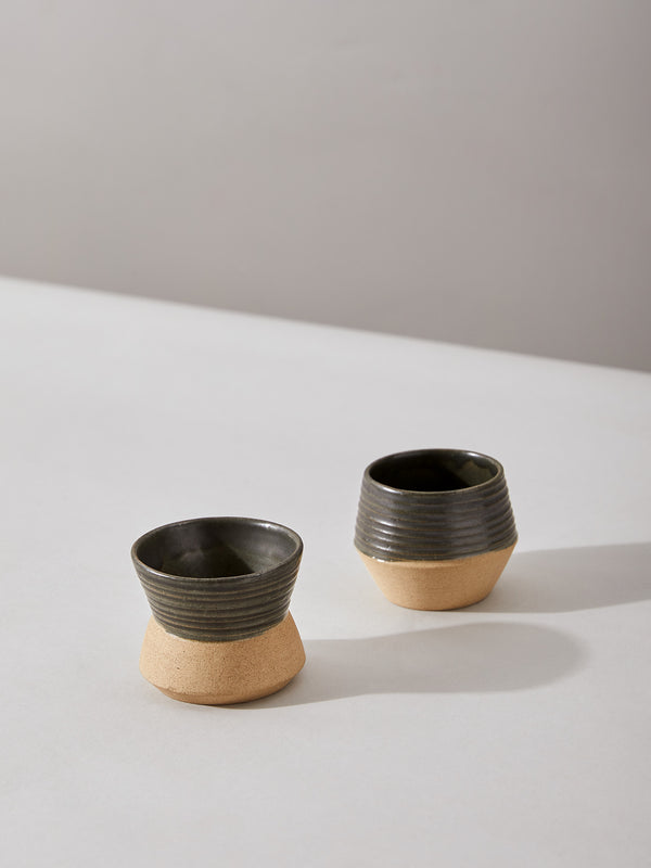 Charcoal & Beige Condiment Bowl Set by Anantaya