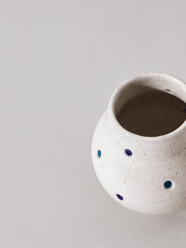 White Dotted Tealight Holder by Anantaya
