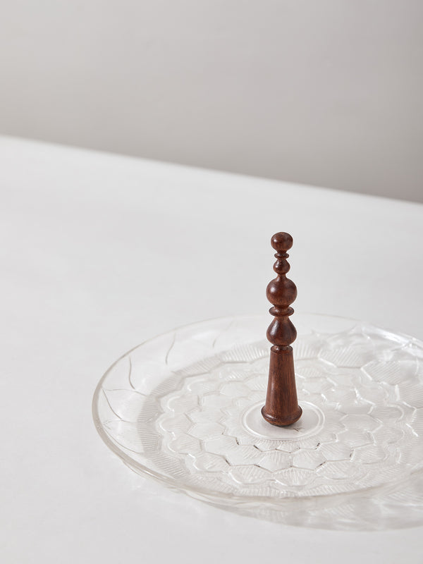 Glass Lotus Finial Platter by Anantaya