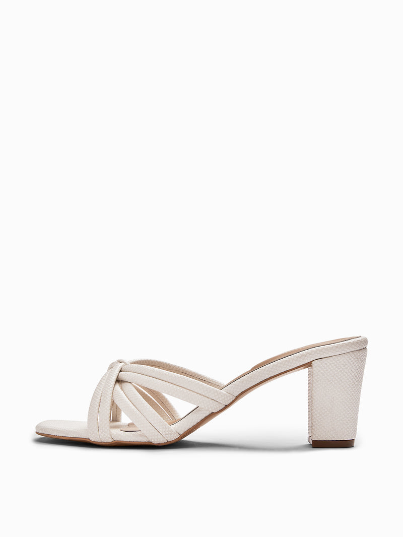 White Knotted Block Heel