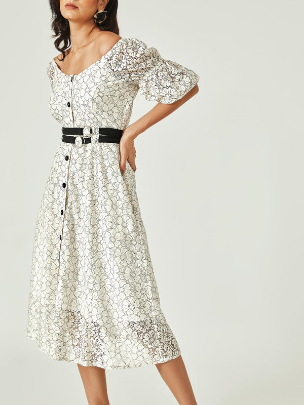 White Lace D Buckle Dress