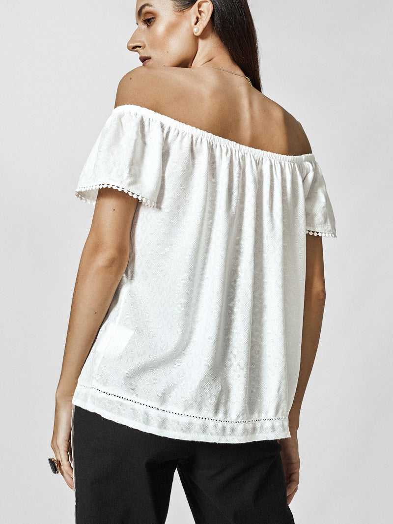 White Off Shoulder Buttoned Top