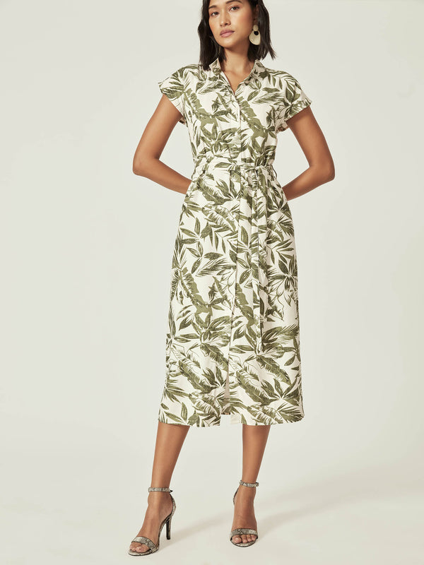 White Palm Print Shirt Dress