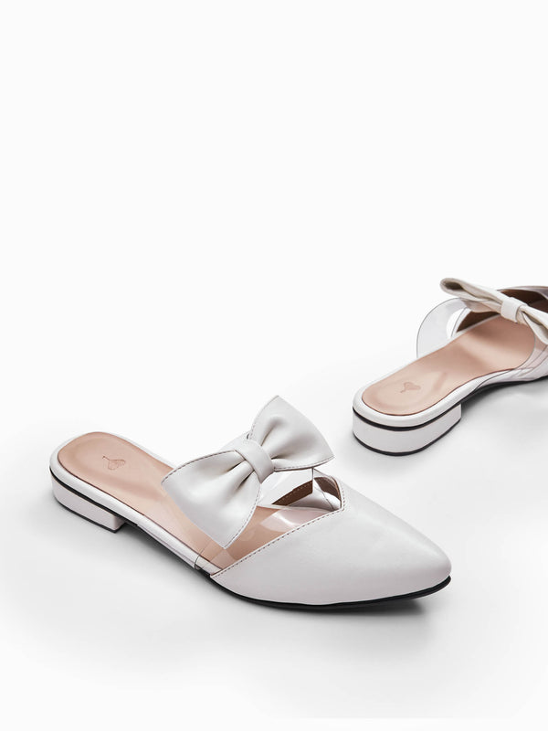 White Pointed Bow Mules