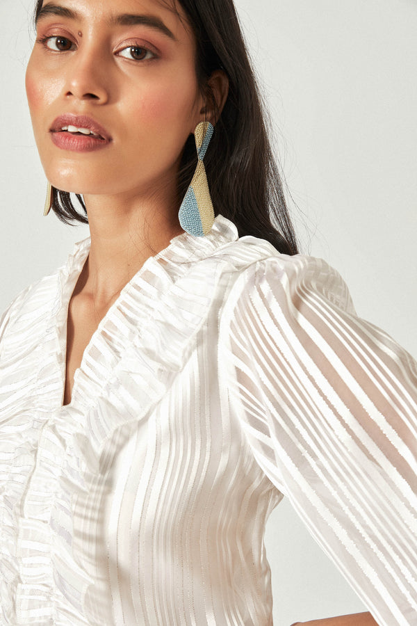 White Stripe Ruffle Top