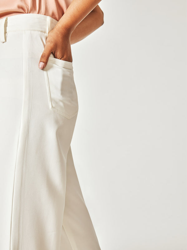 White Flare Pocket Pants