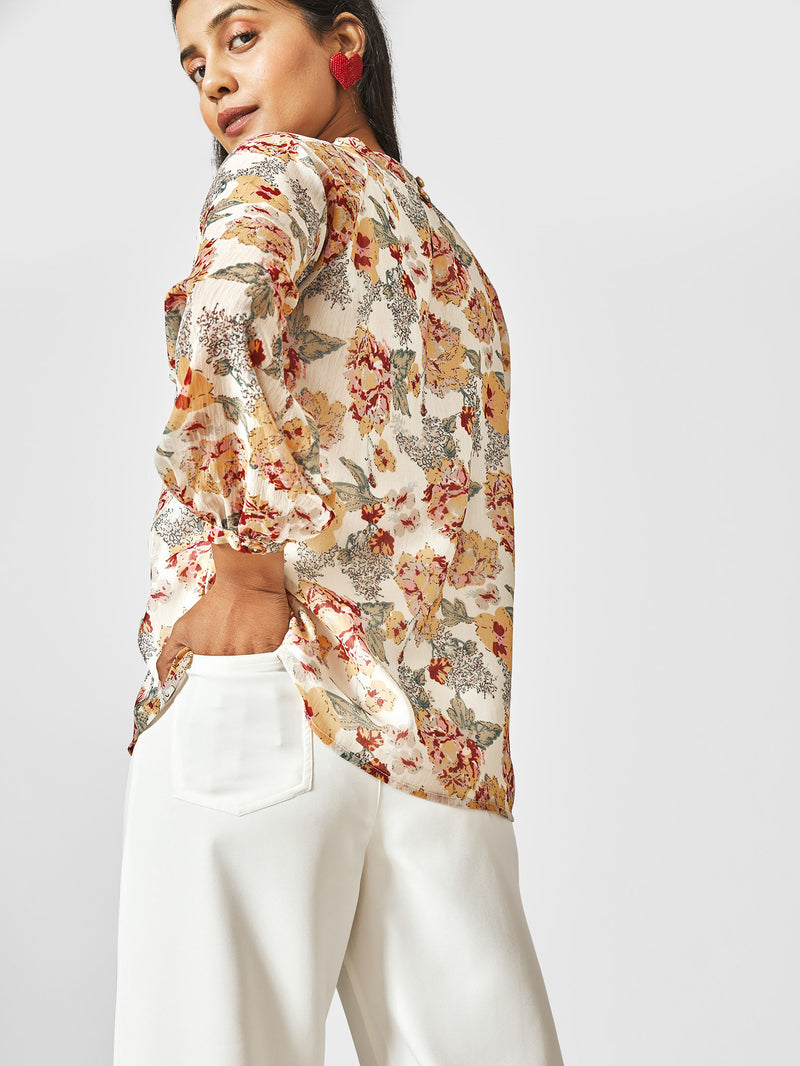 White Floral Balloon Sleeve Top