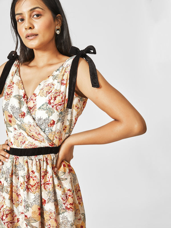 White Floral Belted Dress
