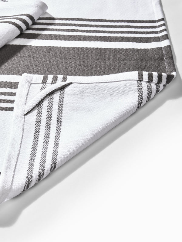 White & Grey Stripe Kitchen Towels