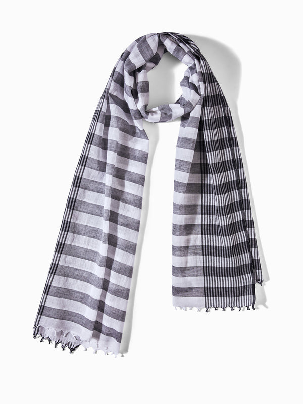 White & Grey Stripe Scarf