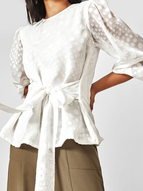 White Textured Front Tie Top