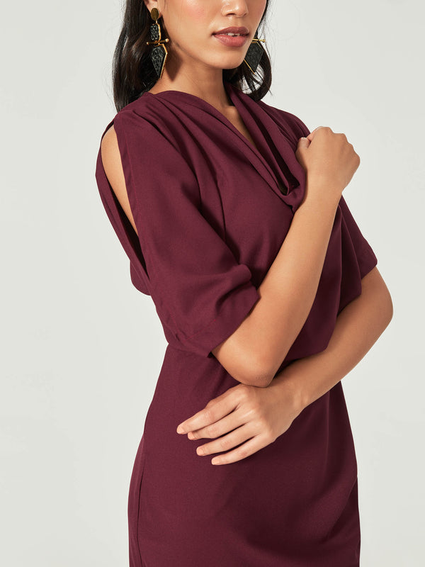 Wine Cowl Neck Dress