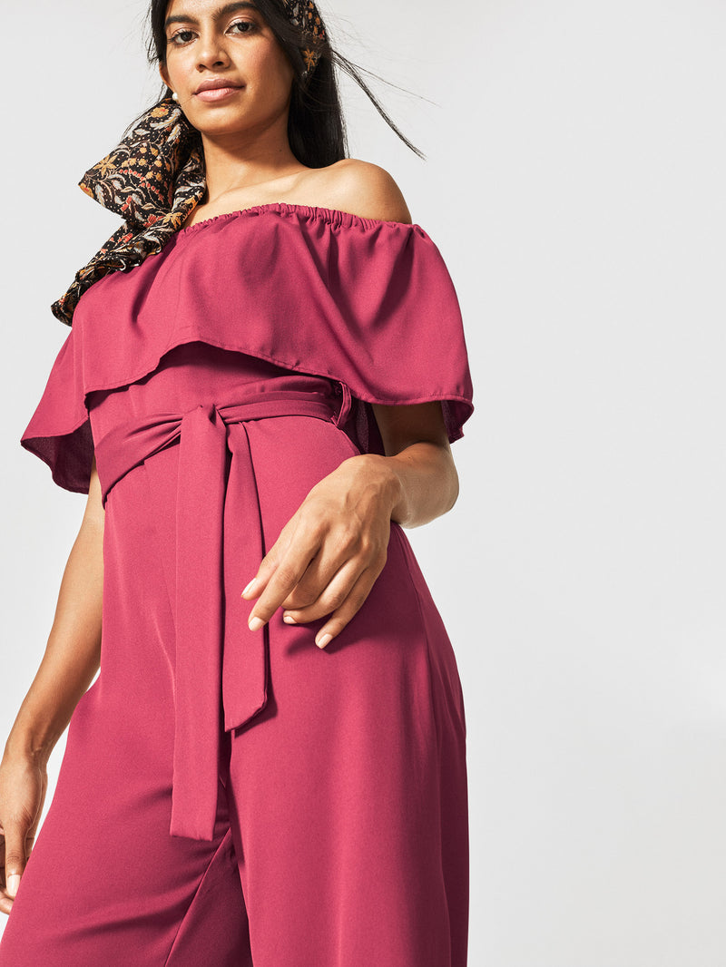 Wine Off Shoulder Ruffle Jumpsuit