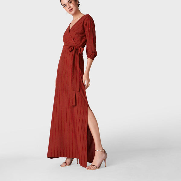 Amber Stripe Overlap Belted Maxi