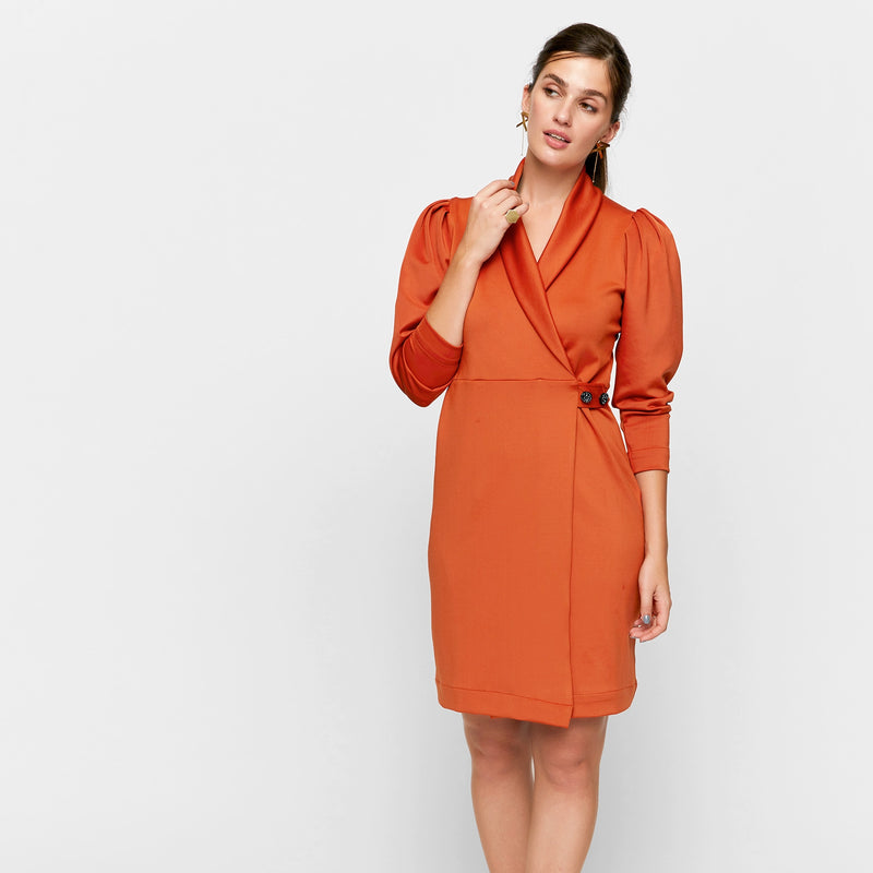 Tangerine Wrap Puff Sleeve Dress