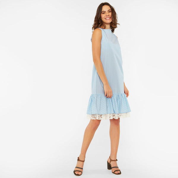 Aqua Striped Drop Waist Dress