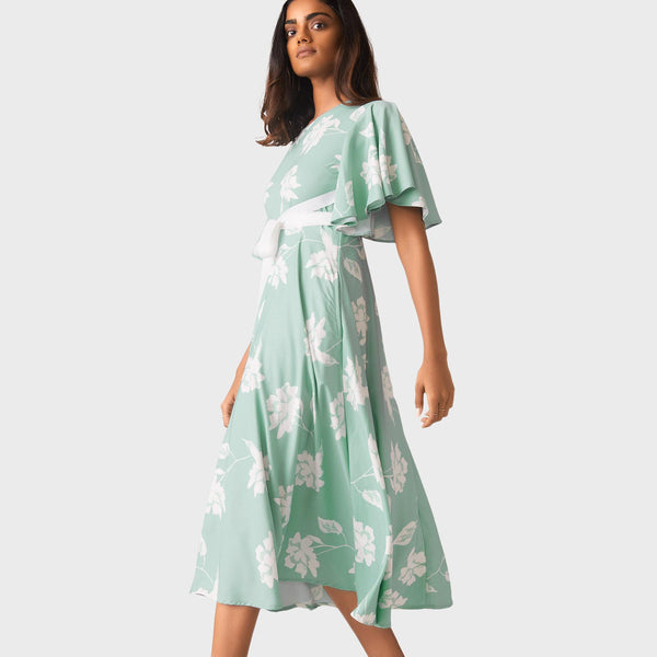 Aqua Floral Flutter Sleeve Dress