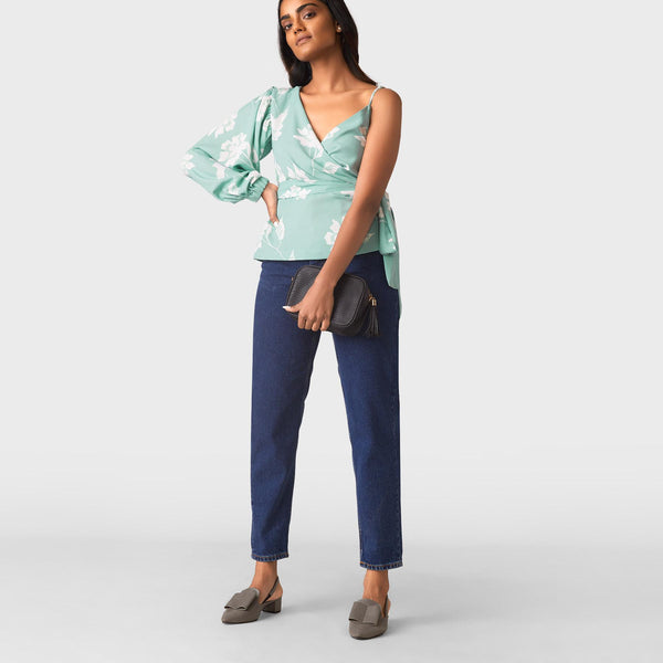 Aqua Floral One Shoulder Wrap Top