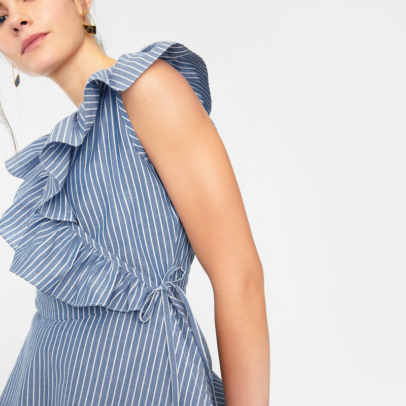 Azure Striped Wrap Top