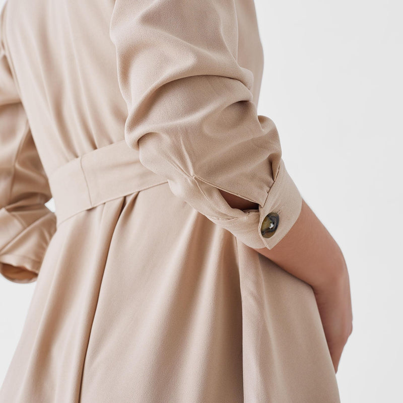 Beige Belted Button Down Dress