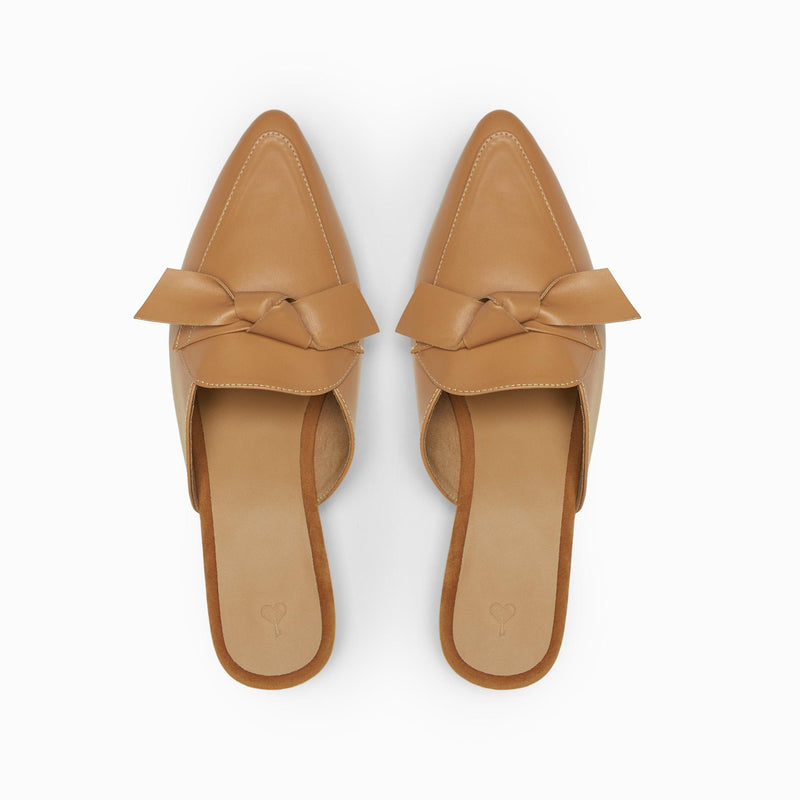 Beige Bow Mules