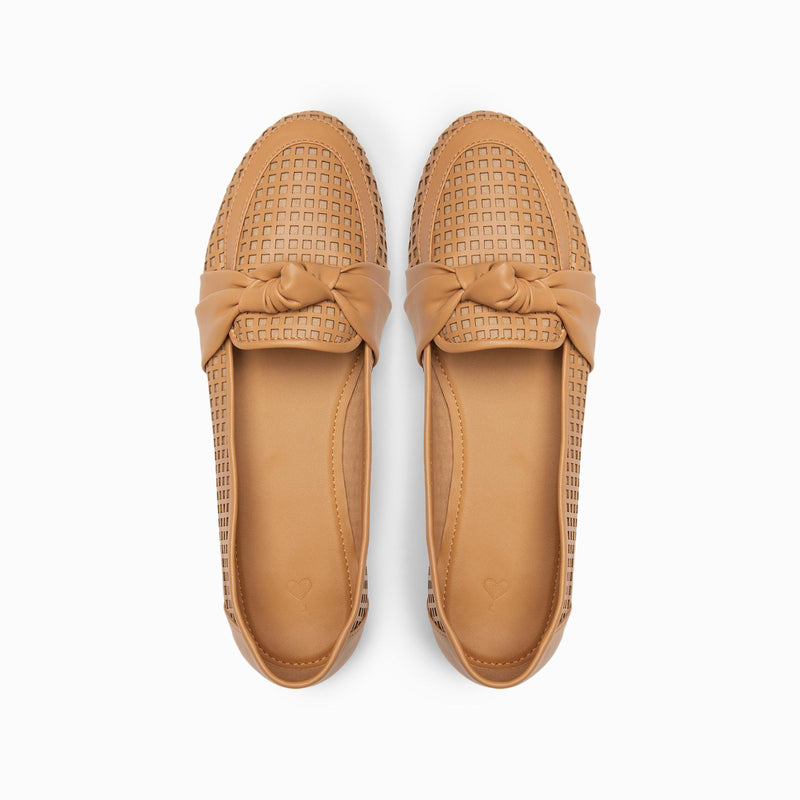 Beige Knotted Cut Out Loafers