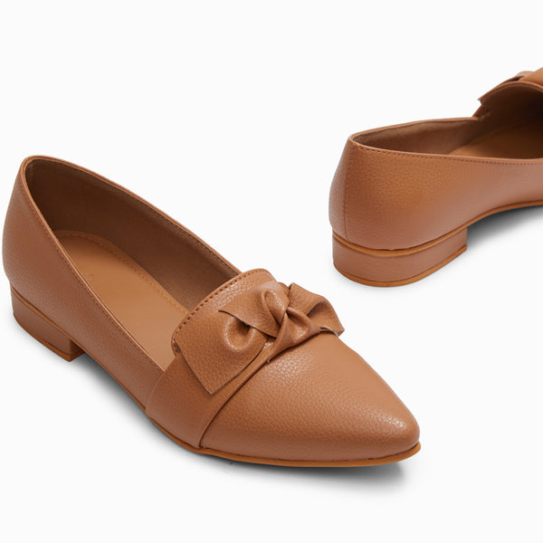 Beige Pointed Bow Loafers