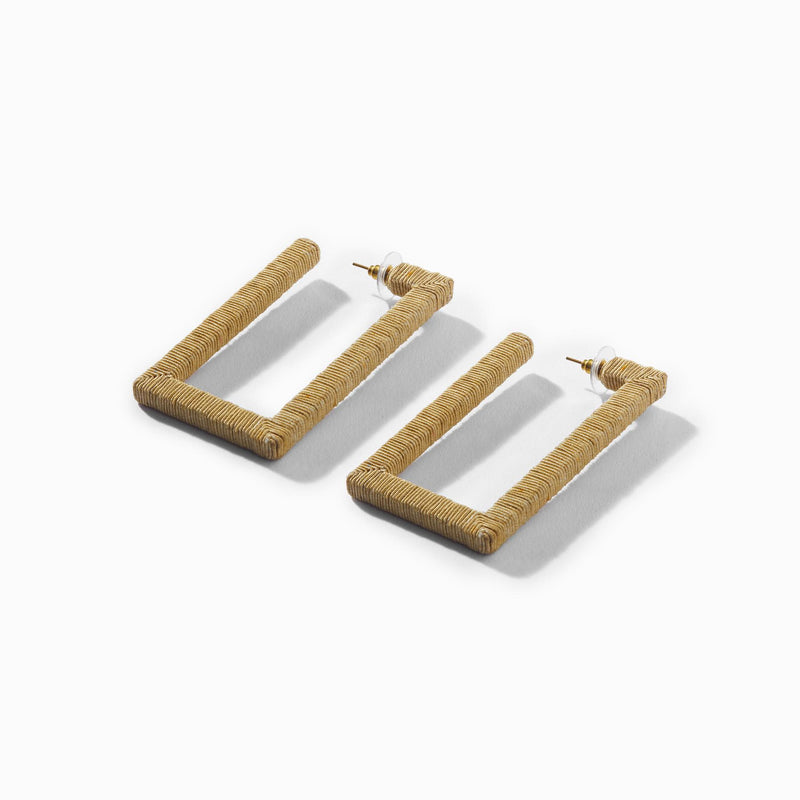 Beige Rectangle Thread Work Earrings
