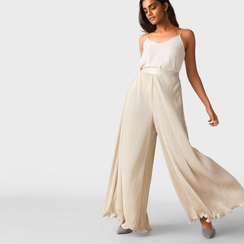 Beige Shimmer Pleated Palazzo Pants