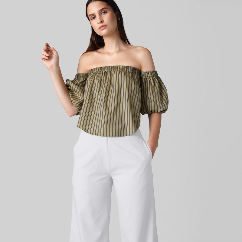 Beige Striped Off Shoulder Top