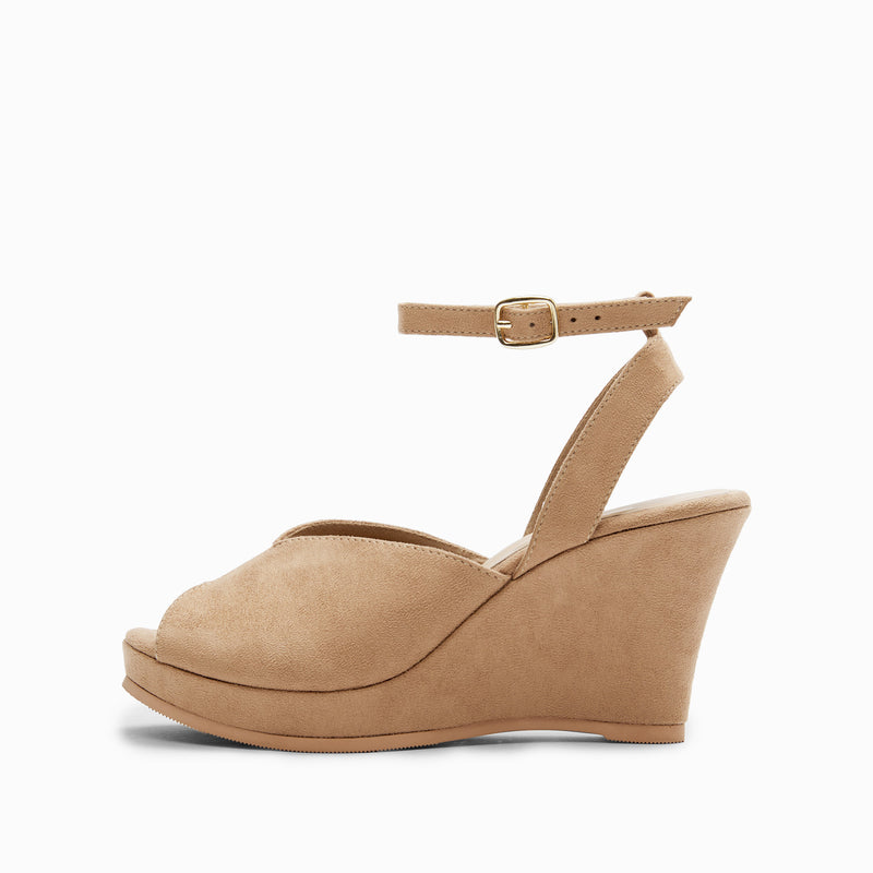 Beige Suede Wedges