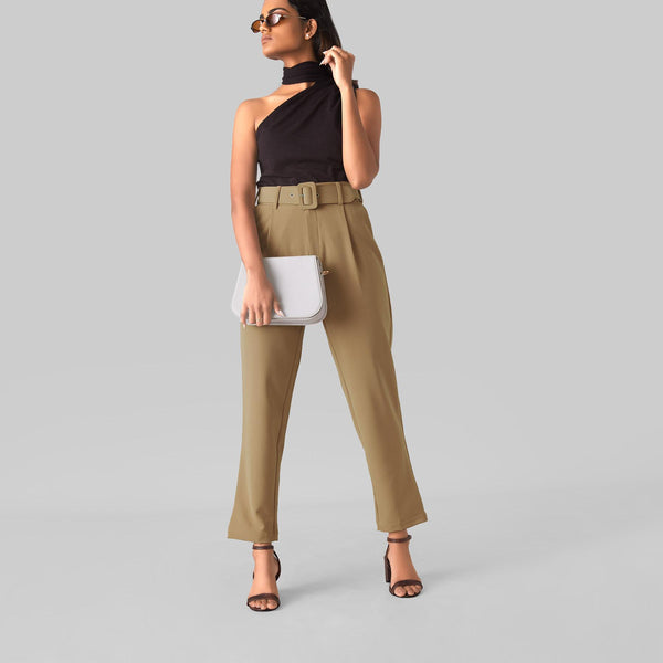 Beige Tapered Pants
