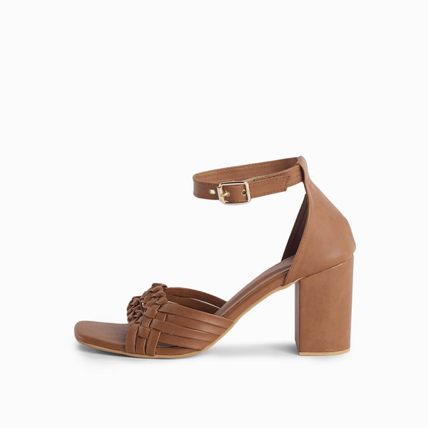 Tan Braided Ankle Strap Block Heels