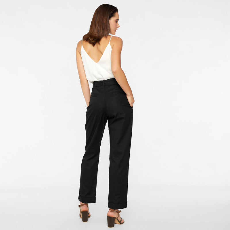 Black Belted Tapered Pants