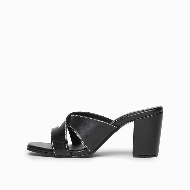 Black Cross Strap Block Heels